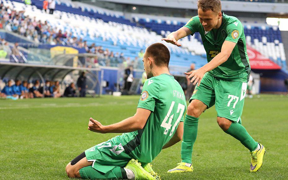 Полузащитник «Ахмата» Даниил Уткин празднует гол. Фото: РПЛ