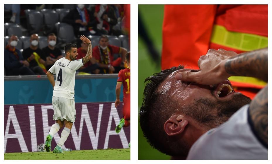 Защитник сборной Италии Леонардо Спинаццола, получивший тяжелую травму в матче 1/4 финала против Бельгии, пообещал в скором времени вернуться. Фото: Global Press Look