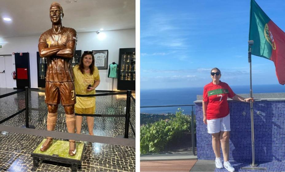 Мария Долореш, мама Криштиану Роналду представила публике шоколадную статую своего сына. Фото: Инстаграм Марии Долореш